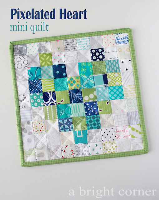 Pixelated Heart mini quilt tutorial from Andy of A Bright Corner
