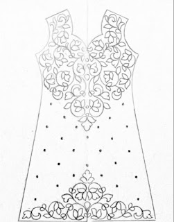 Ladies dress design drawing for hand embroidery on tracing paper by pencil sketch.