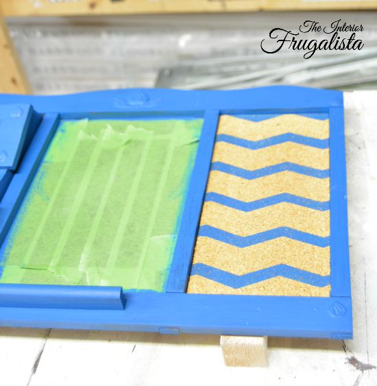 Upcycled Family Command Center Chevron Cork Board