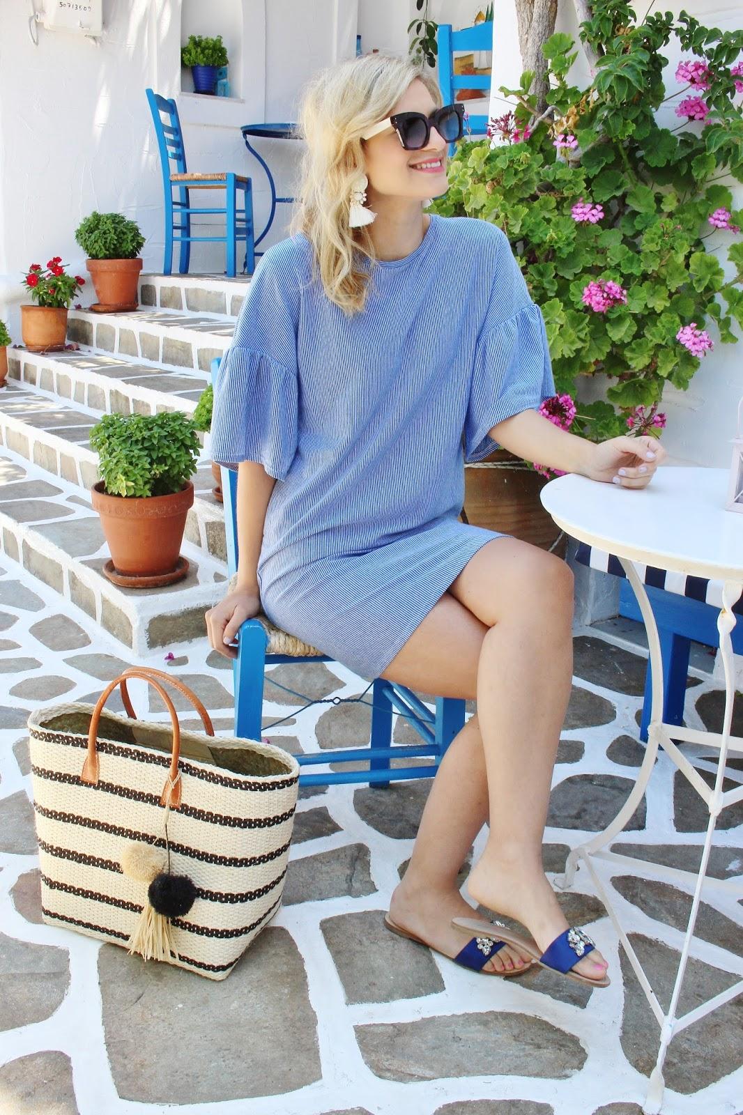 bijuleni,Zara summer dress and hat attack straw beach bag