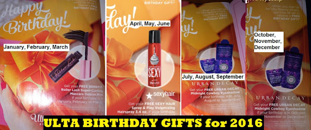 ULTA 2016 birthday gifts Benefit Roller Lash mascara Sexy Big Hair spray Urban Decay Midnight Cowboy eyeshadow