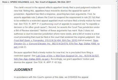 Ross v Spero - Filing of post-judgment motion precludes restricted appeal