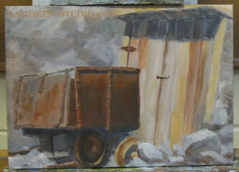 art wip painting mine acrylic ore cart door