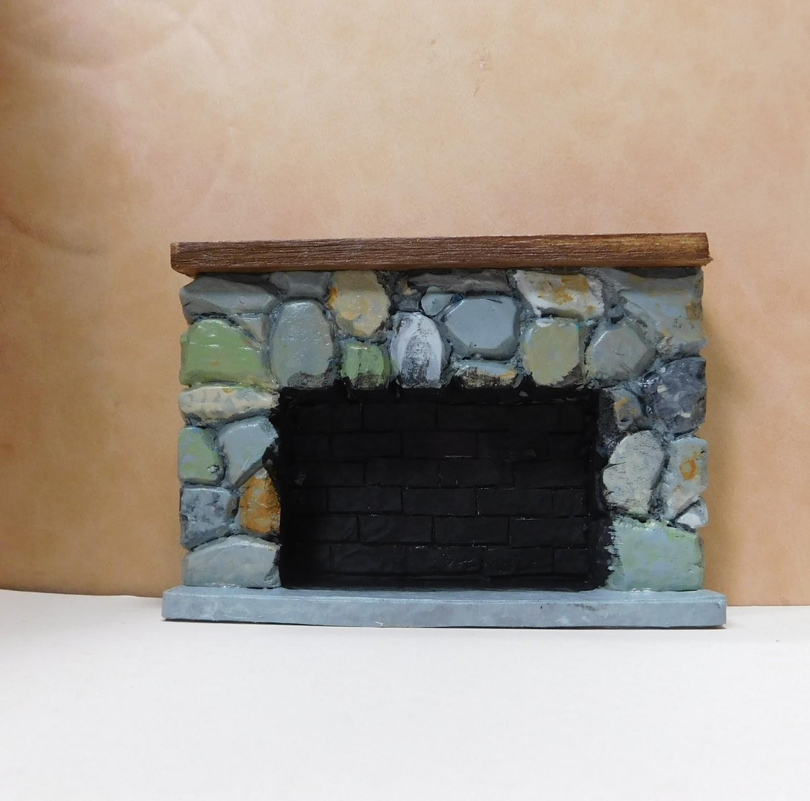 Joanne's Minis: Dollhouse Miniature Stone Fireplace