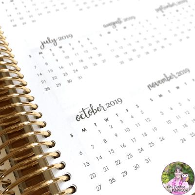 Calendar page in Erin Condren Life Planner