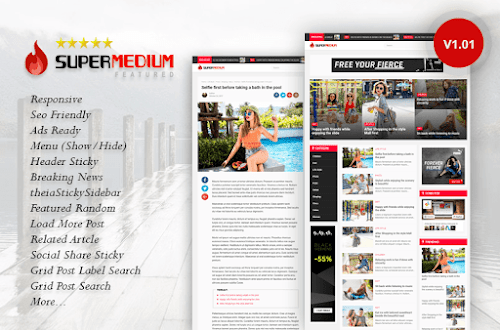 Supermedium Featured Random Responsive Blogger Template Premium