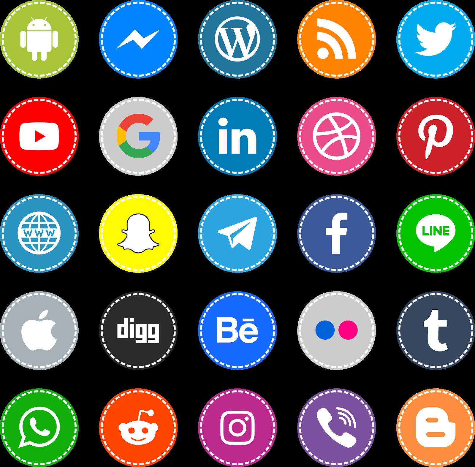 Download Font Icons Social Media 16 Color Ttf Otf - el fonts vectors