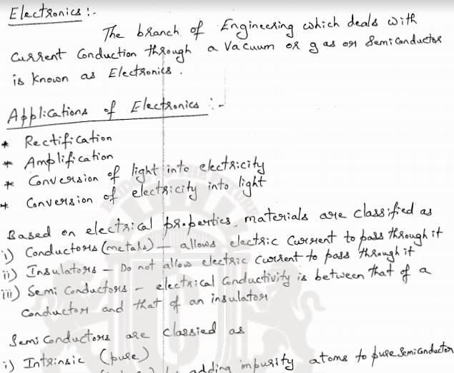 Electronics Basics Excellent Handwritten Lecture Notes PDF - Matterhere