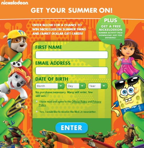 Nick-tastic Summer Nickelodeon Sweepstakes ~ Sweepstaking net - A