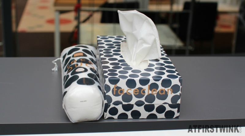 HEMA black dot print tissue box and cotton pads