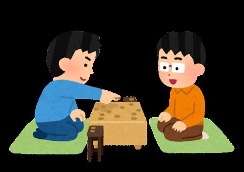 将棋の対局のイラスト(子供)