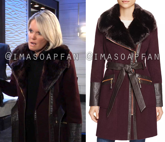 Ava Jerome, Maura West, Belted Purple Coat with Faux Fur Collar, General Hospital, GH