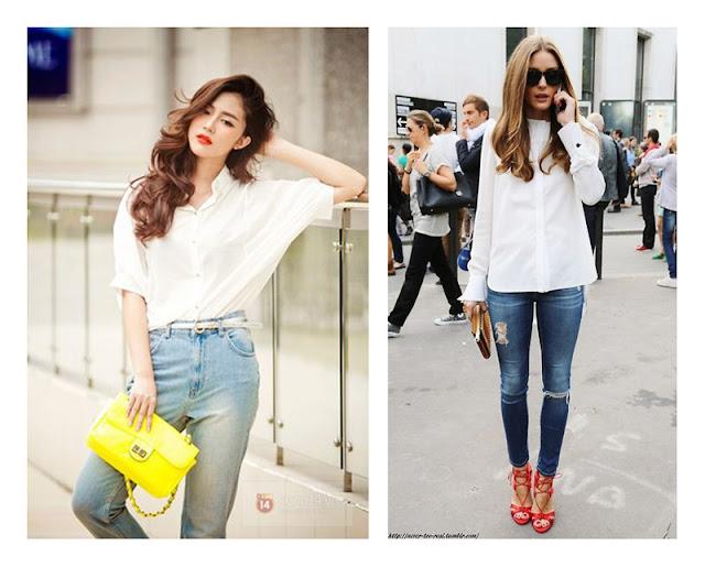 Джинсы + белая рубашка + желтый клатч + красные туфли