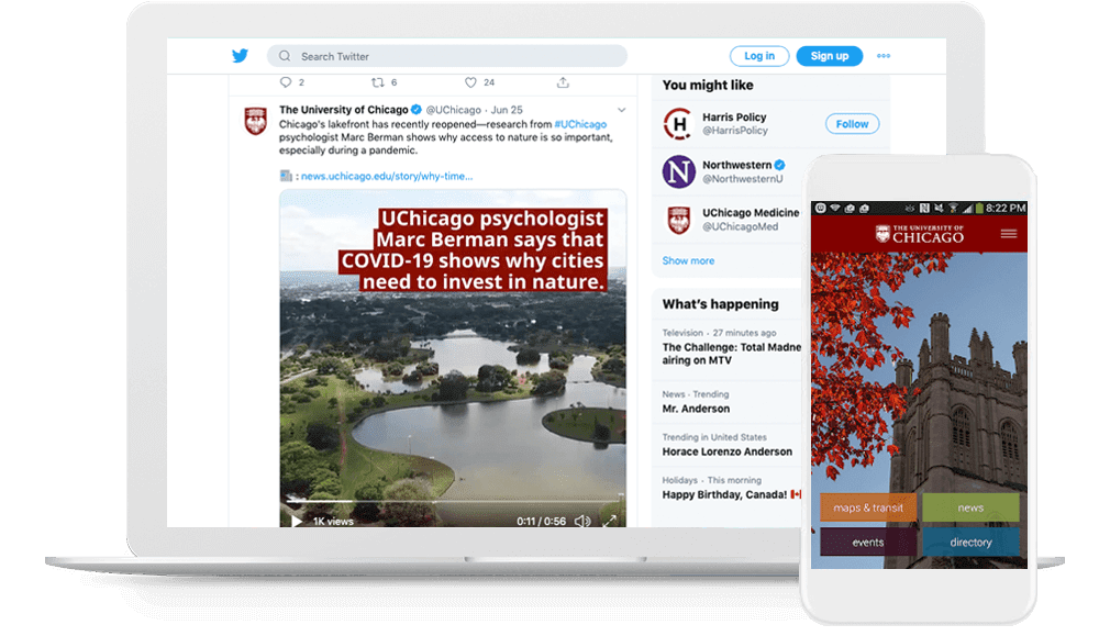 UChicago's digital-first brand assets work well integrated into social media videos and in their apps