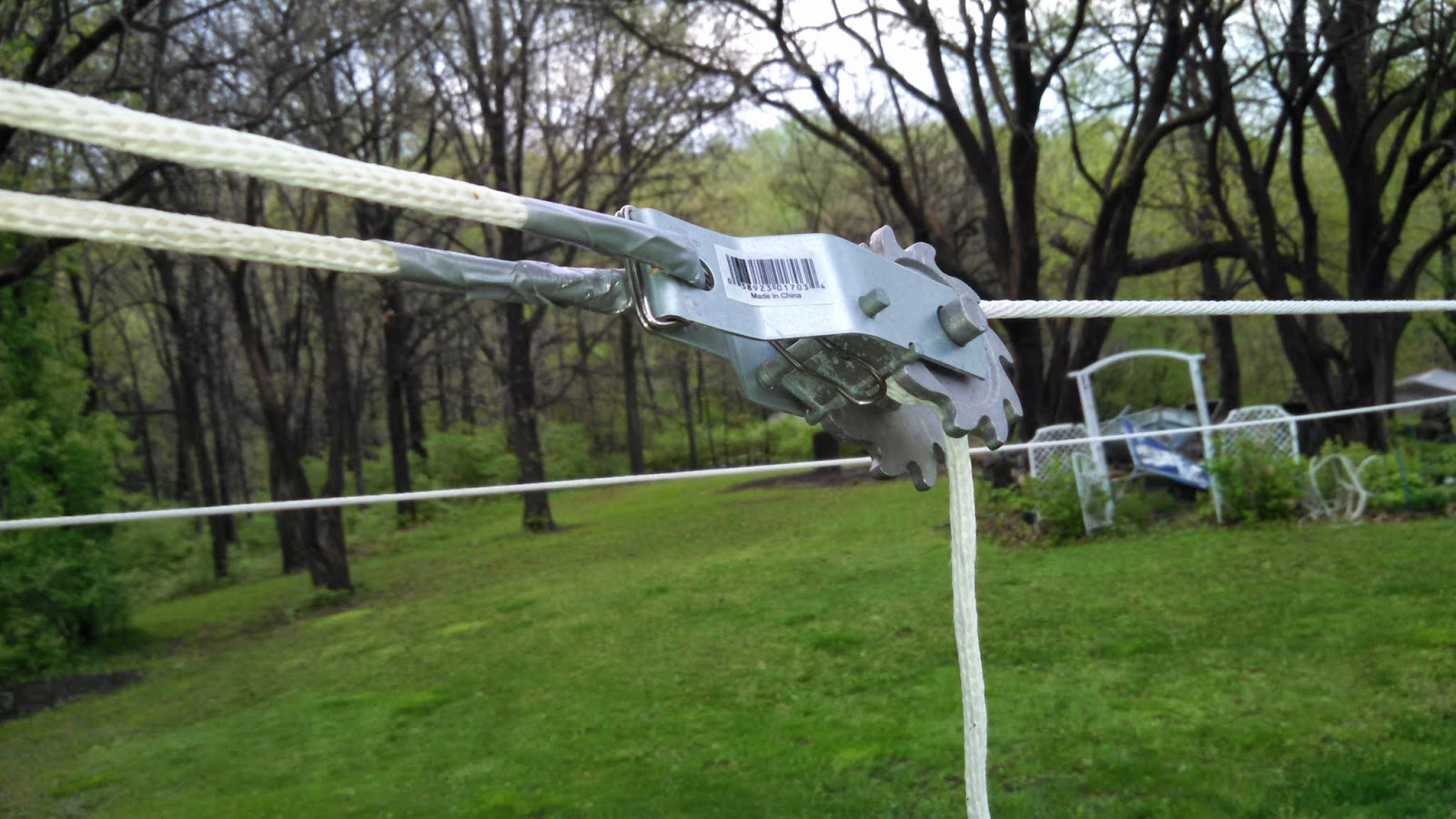 Ratchet to Tighten Clothesline Protected with Duct Tape
