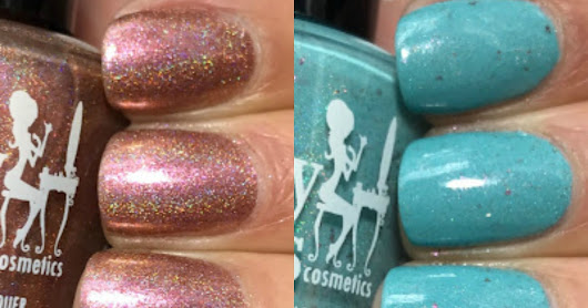 Girly Bits Cosmetics; Limited Edition April Colour of the Month Duo, All Bronze and No Brains and Robin Me Blind