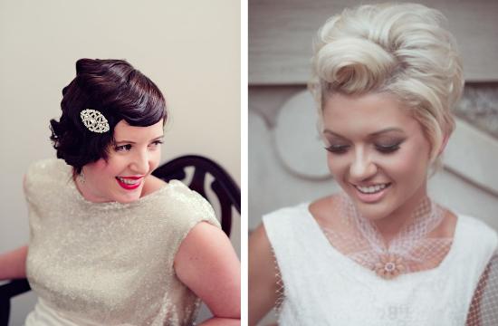 bride with short hair, vintage brides, finger waves