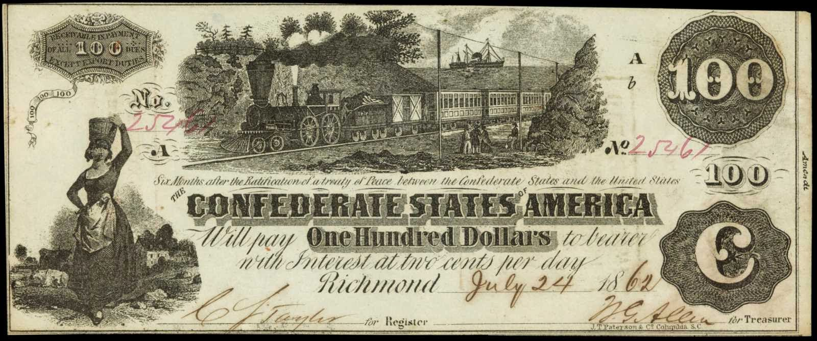 Confederate 100 Dollar Locomotive Note 1862