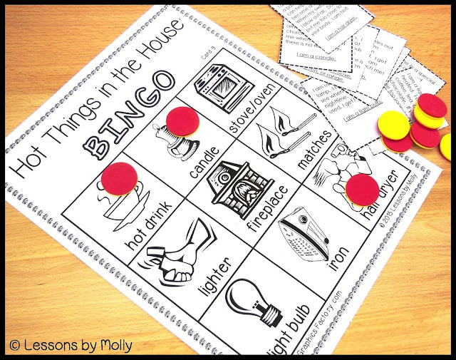 October is fire safety month!  This fire safety and burn prevention packet includes a bingo game with images of common household items that have the potential to be very dangerous for young children.  The images include a candle, matches, lighter, hot drink, iron, light bulb, fireplace, stove, and hair dryer.  Other activities included in this resource are a listening activity to strengthen auditory skills, a letter knowledge printable for the letter Ff, and a follow the safe path game.