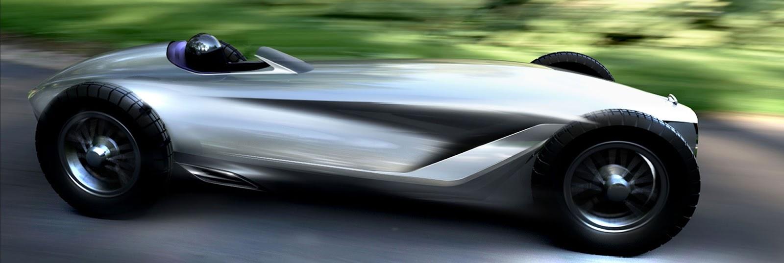 Infiniti Prototype 9 render, side view racing