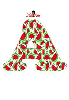 Abecedario con Sandías. Alphabet with Watermelons.