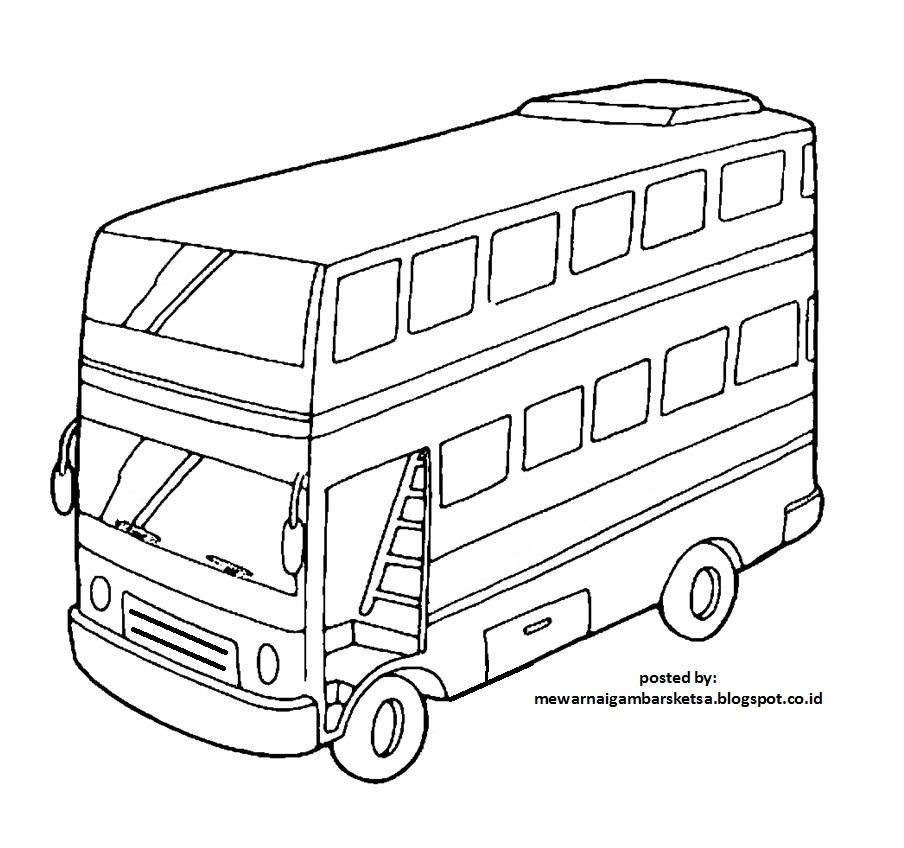 Mewarnai Gambar Bus Tingkat Pewarna I