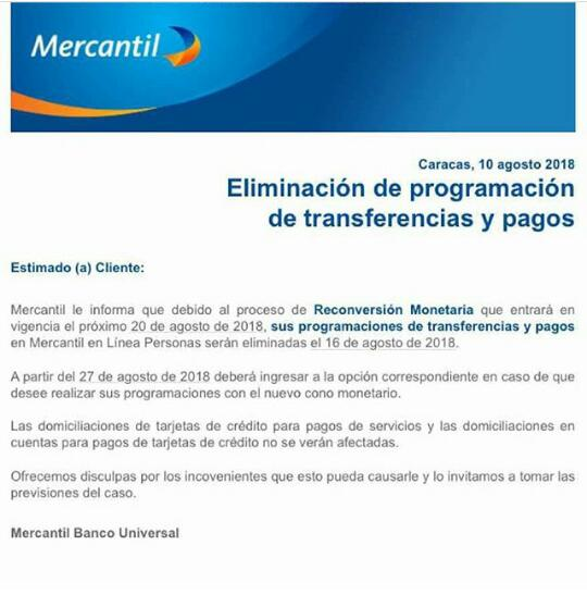 El Banco Universal, Mercantil, suspenderá temporalmente sus servicios de transferencias programadas y pagos en linea.
