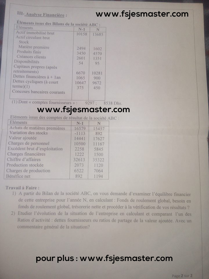 Exemple concours Master Management Audit et Contrôle (MAC) 2015-2016 - fsjes Kénitra
