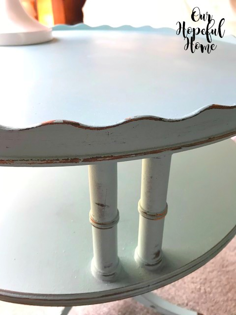 painted wooden table distressed gold spindles fluted edges