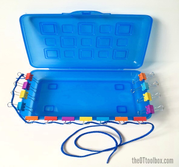 This pediatric occupational therapy activity helps kids with fine motor skills, bilateral coordination, and eye-hand coordination in occupational therapy.