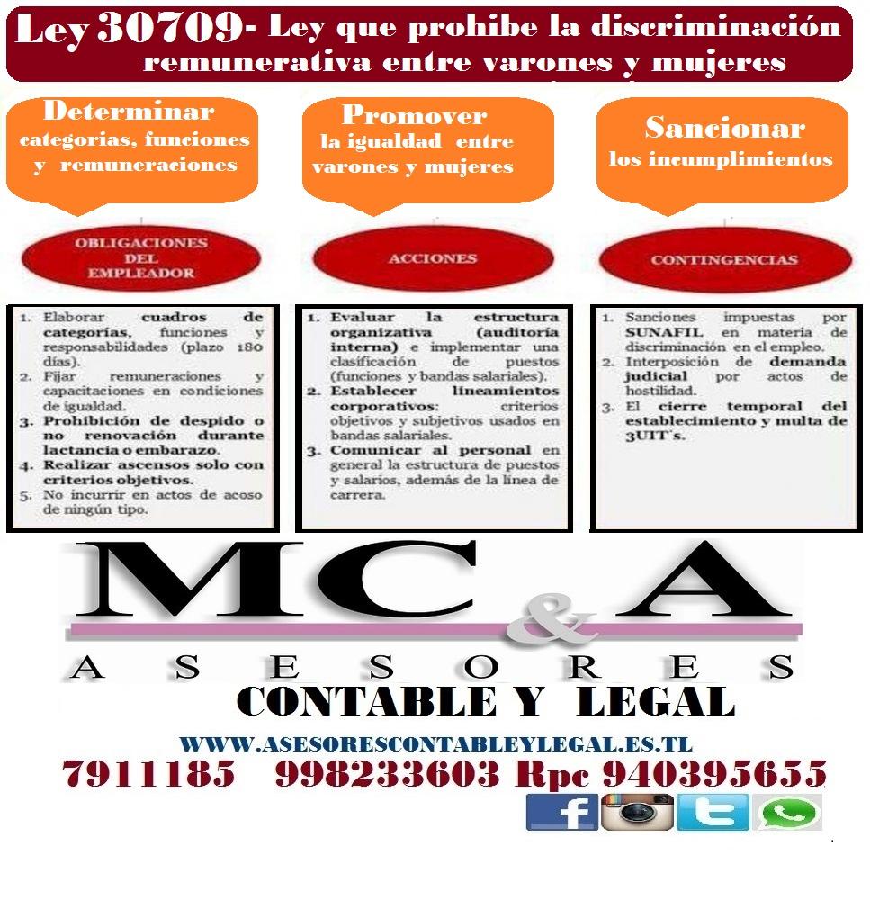 Ley 30709 - Ley que prohíbe la discriminación remunerativa entre ...