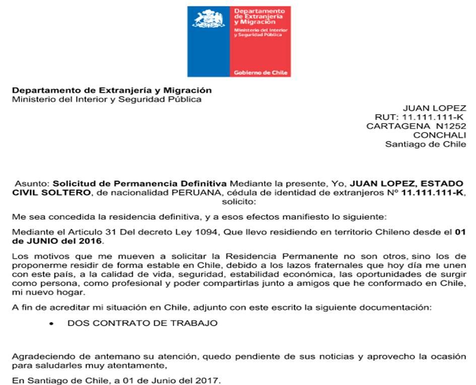 Notiguias Carta explicativa para solicitar permanencia definitiva