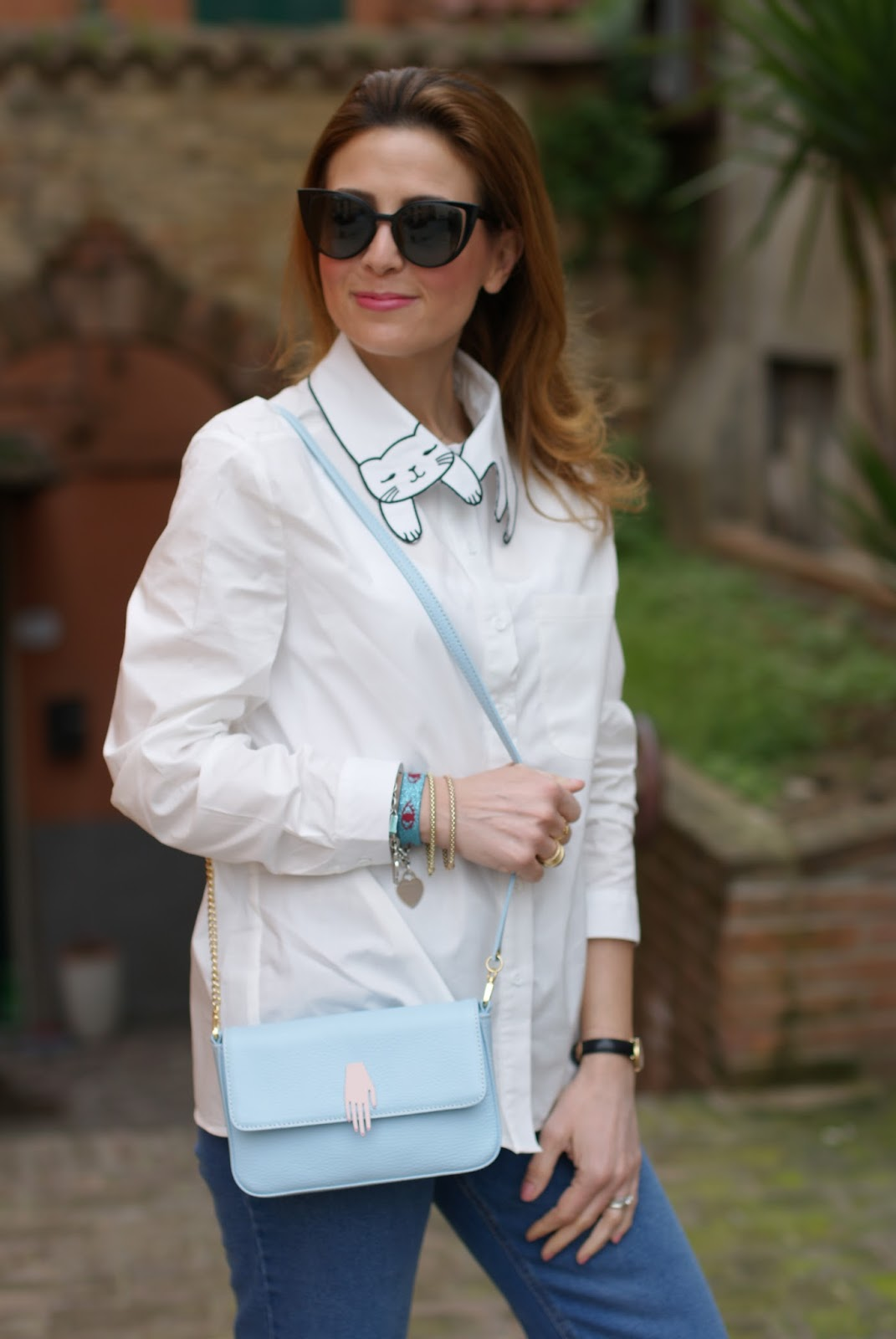 White cat collar shirt on Fashion and Cookies fashion blog, fashion blogger style