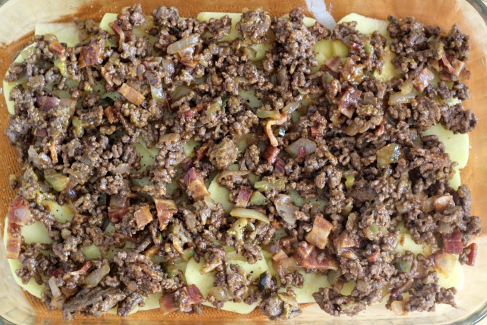 Cheeseburger Casserole Recipe layer of seasoned ground beef in pan