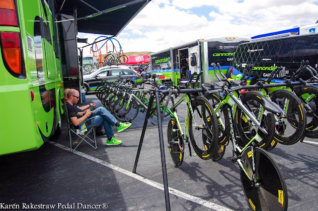 Team Cannondale set up at bike race