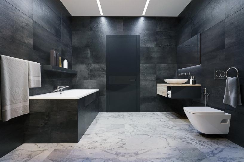 Kamar mandi minimalis dengan sentuhan marmer 2 tone