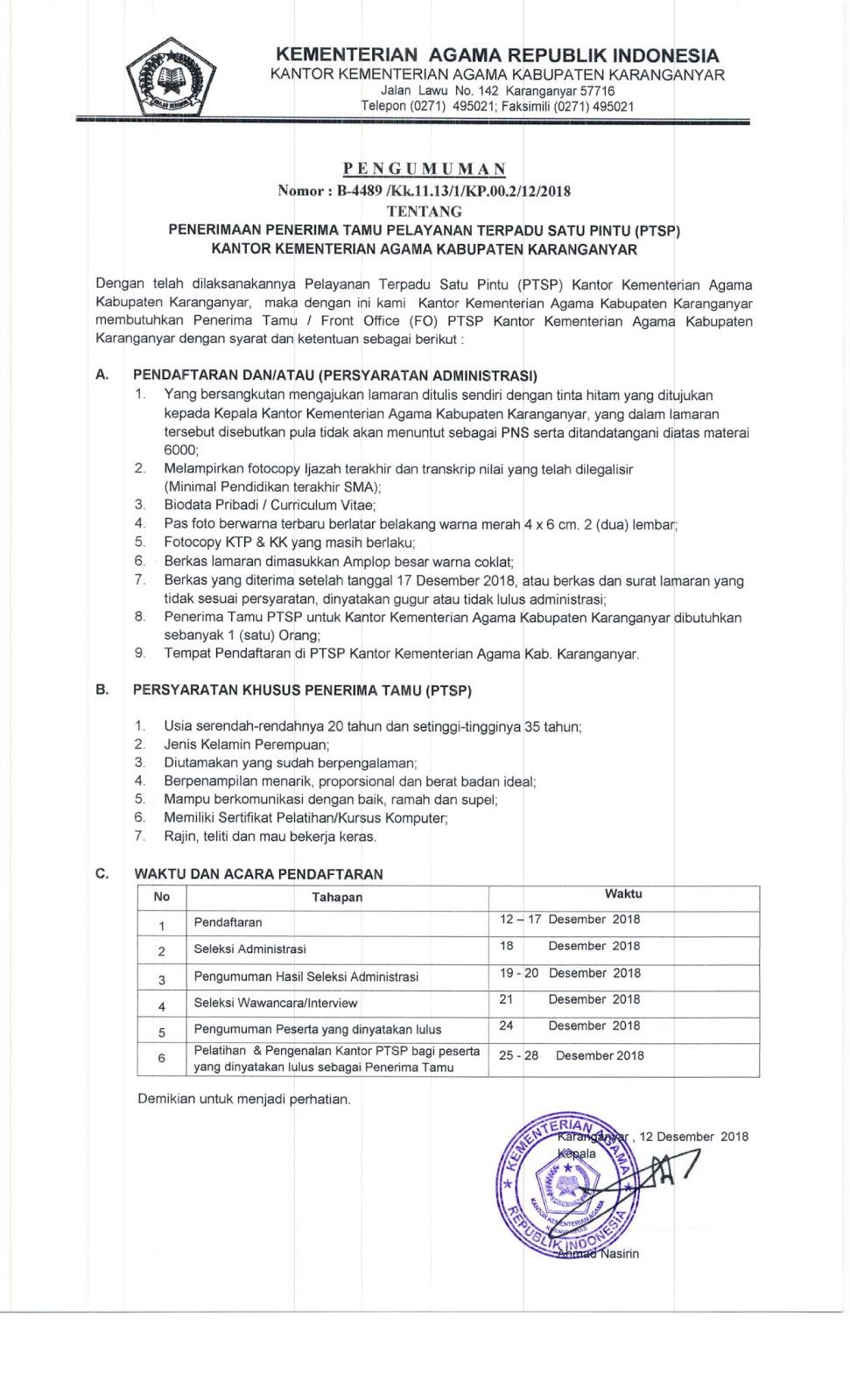 Rekrutmen Front Office Kantor Kementerian Agama Kabupaten Karanganyar