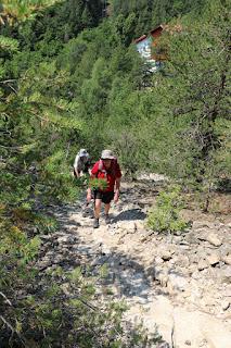 Climbing up the steep path