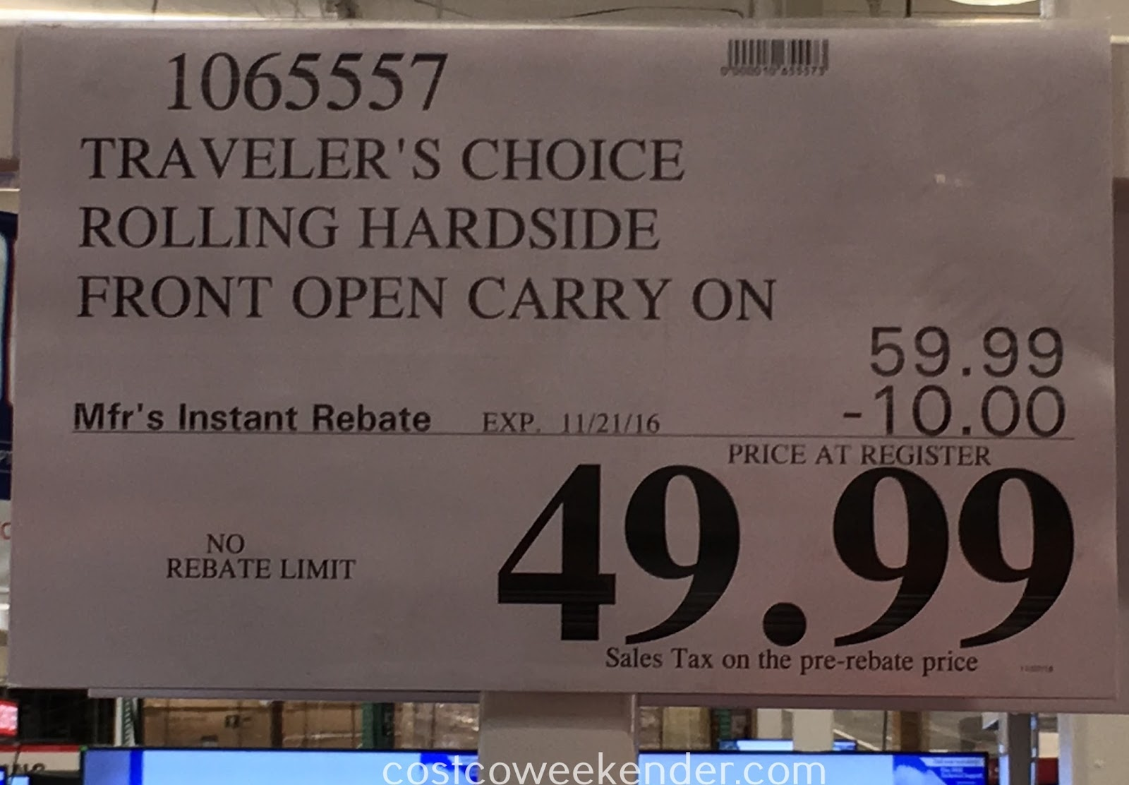Costco 1065557 - Deal for the Traveler's Choice Rolling Hardside Front Open Carry-On at Costco