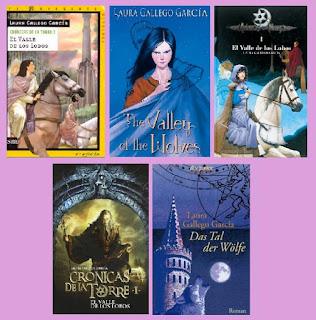 portadas del libro juvenil fantástico El valle de los lobos, de Laura Gallego García