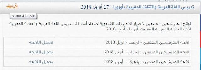 تدريس اللغة العربية والثقافة المغربية بأوروبا لوائح المترشحين المنتقين لاجتياز الاختبارات الشفوية- 17 أبريل 2018