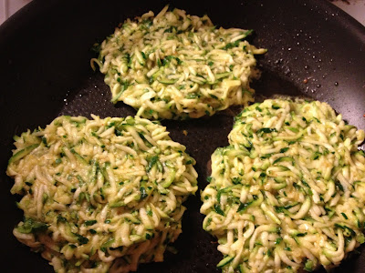 courgette fritters frying