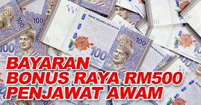Thumbnail image for Bayaran Bonus Raya RM500 Penjawat Awam Mula Dibayar