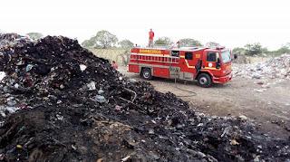 Corpo de Bombeiros esteve em Baraúna para Combater mais uma vez incêndio no Lixão