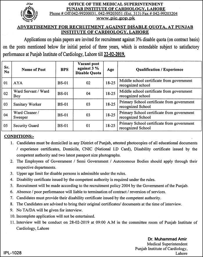 Today Jobs in Punjab Institute of Cardiology, Lahore 2019