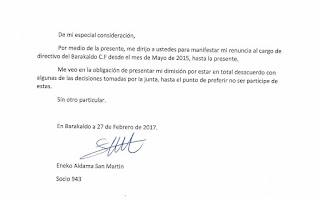 Carta de dimisión de Eneko Aldama