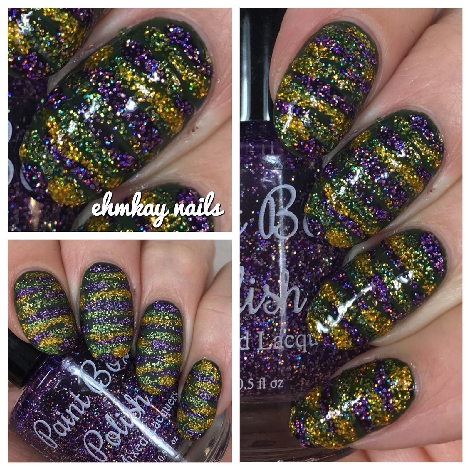 ehmkay nails: Mardi Gras Nail Art: Mardi Gras Stripes Microglitter ...