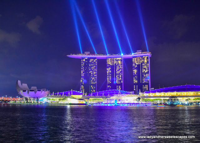 Dazzling laser lights coming from MBS rooftop