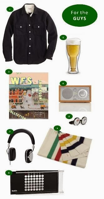 Holiday gift ideas for men including, J.Crew, beer glass, The Wes Anderson Collection by Matt Zoller Seitz, Tivoli classic AM/FM table radio wtih Bluetooth, Paul Smith cufflinks, Hudson's Bay Company blanket, Bowers & Wilkins headphones and MOMA perpetual calendar.