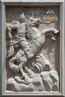 Relief batu alam paras jogja/batu putih motif kwan kong,kwan le,kwan yu atau kwan gong